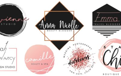 A set of black and pink logo design for female-centric brands