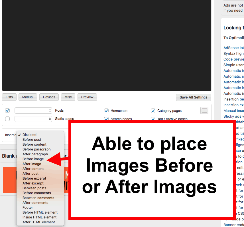 Ad Inserter plugin - how to insert ads before or after images in a post