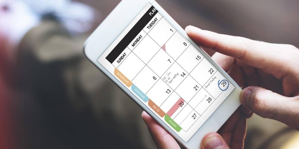 Calendar reminder on a phone