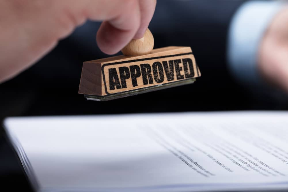 Document application getting approved with approval stamp