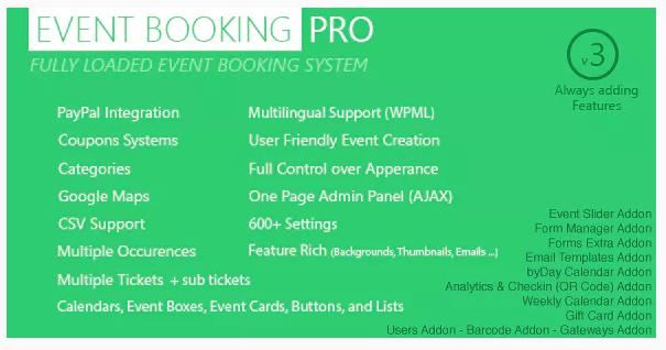 Event Booking Pro plugin