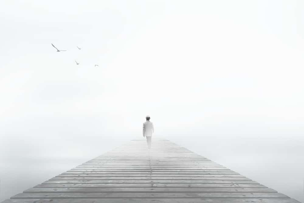 Man disappearing in the fog