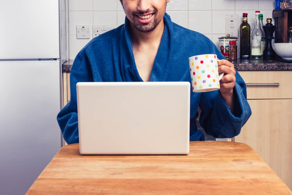 Man working from home in a robe
