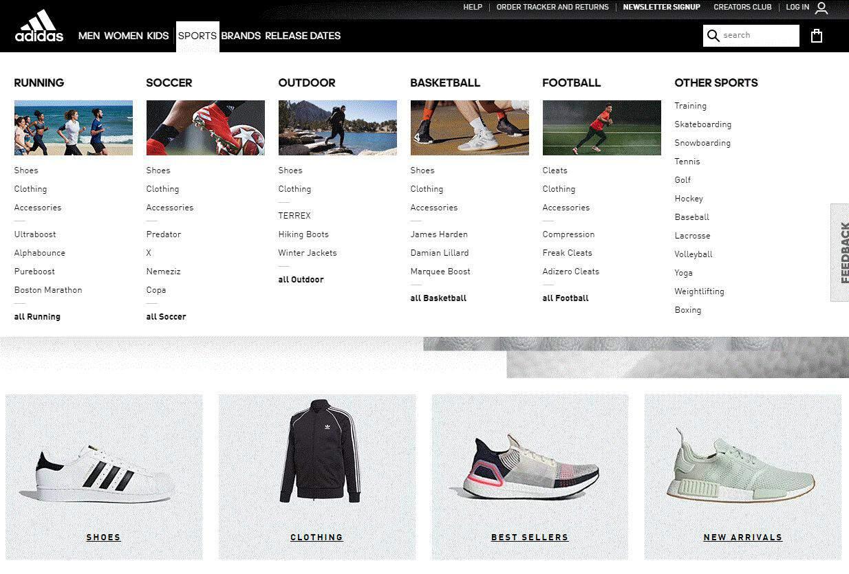 The drop down menu of Adidas