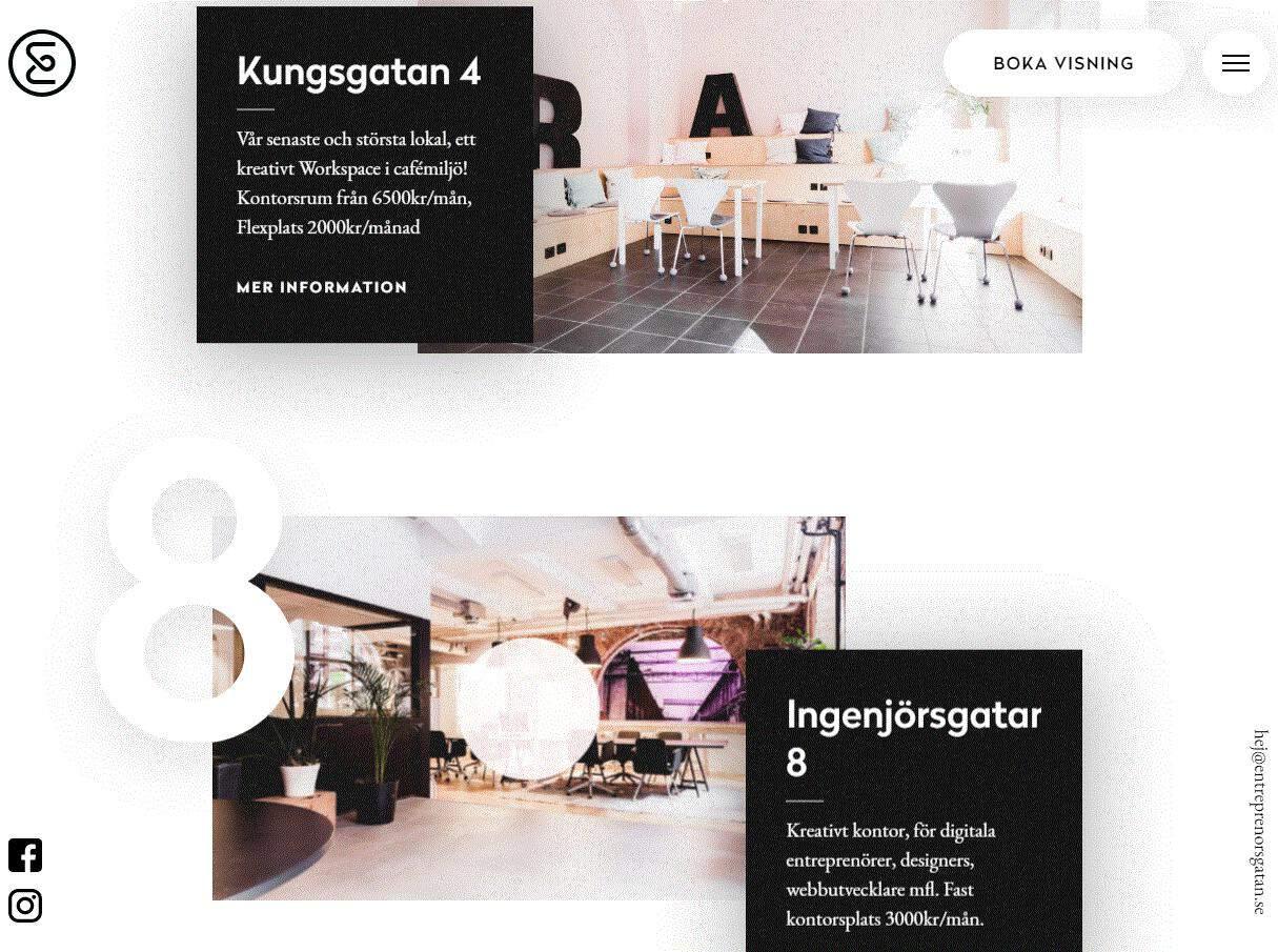 Entreprenrsgatan's multimedia website