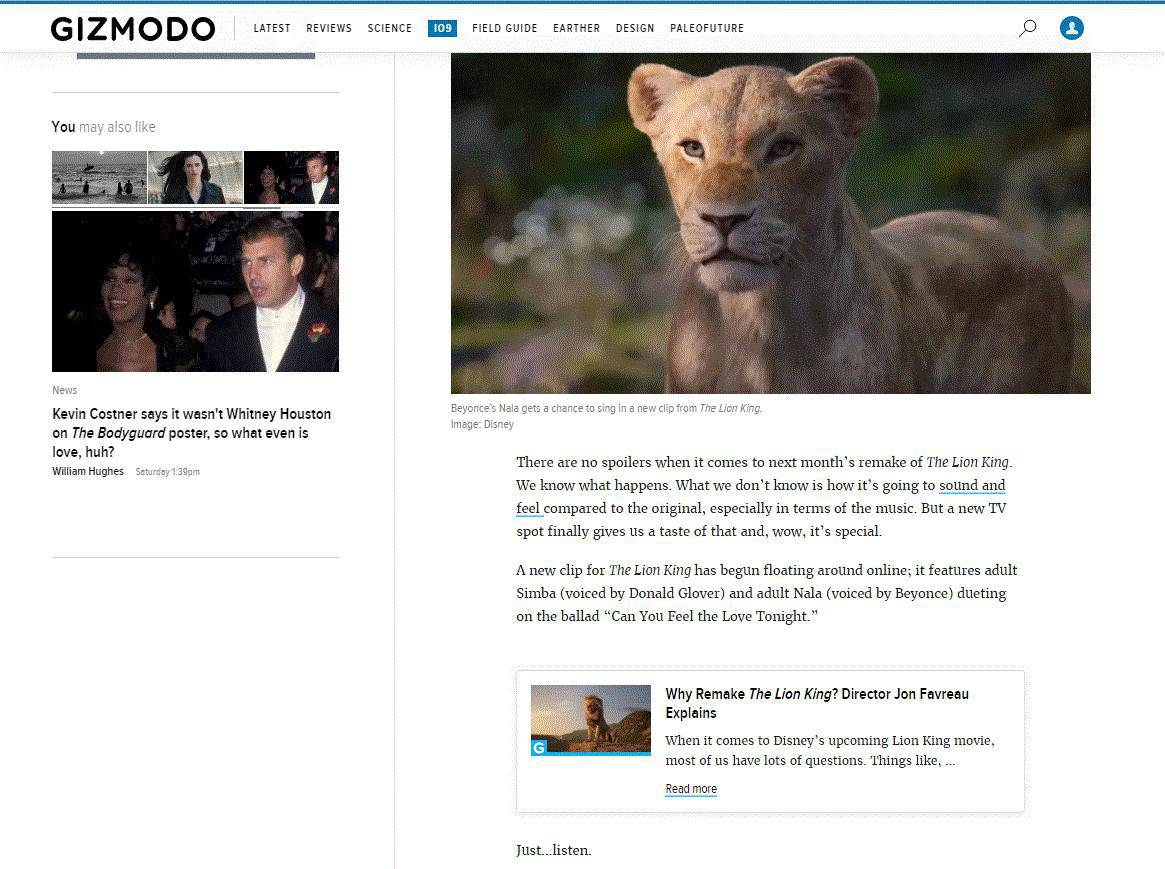 Related post navigation in Gizmodo