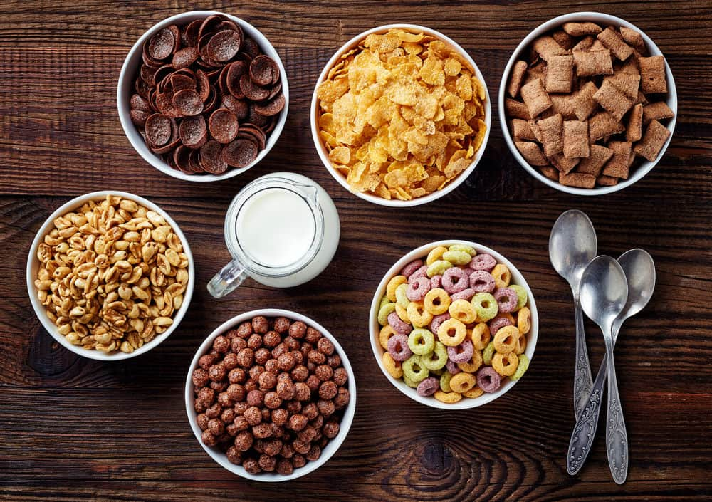 Several bowls of cereal