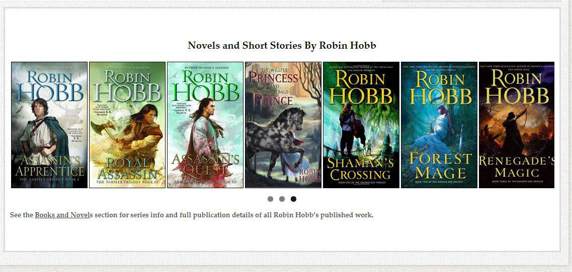 Single page dot navigation employed by author Robin Hobb