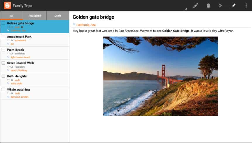Blogger interface by Google