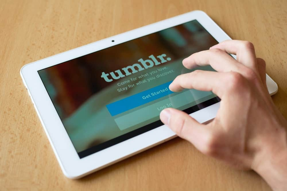 Tumblr app on an tablet.