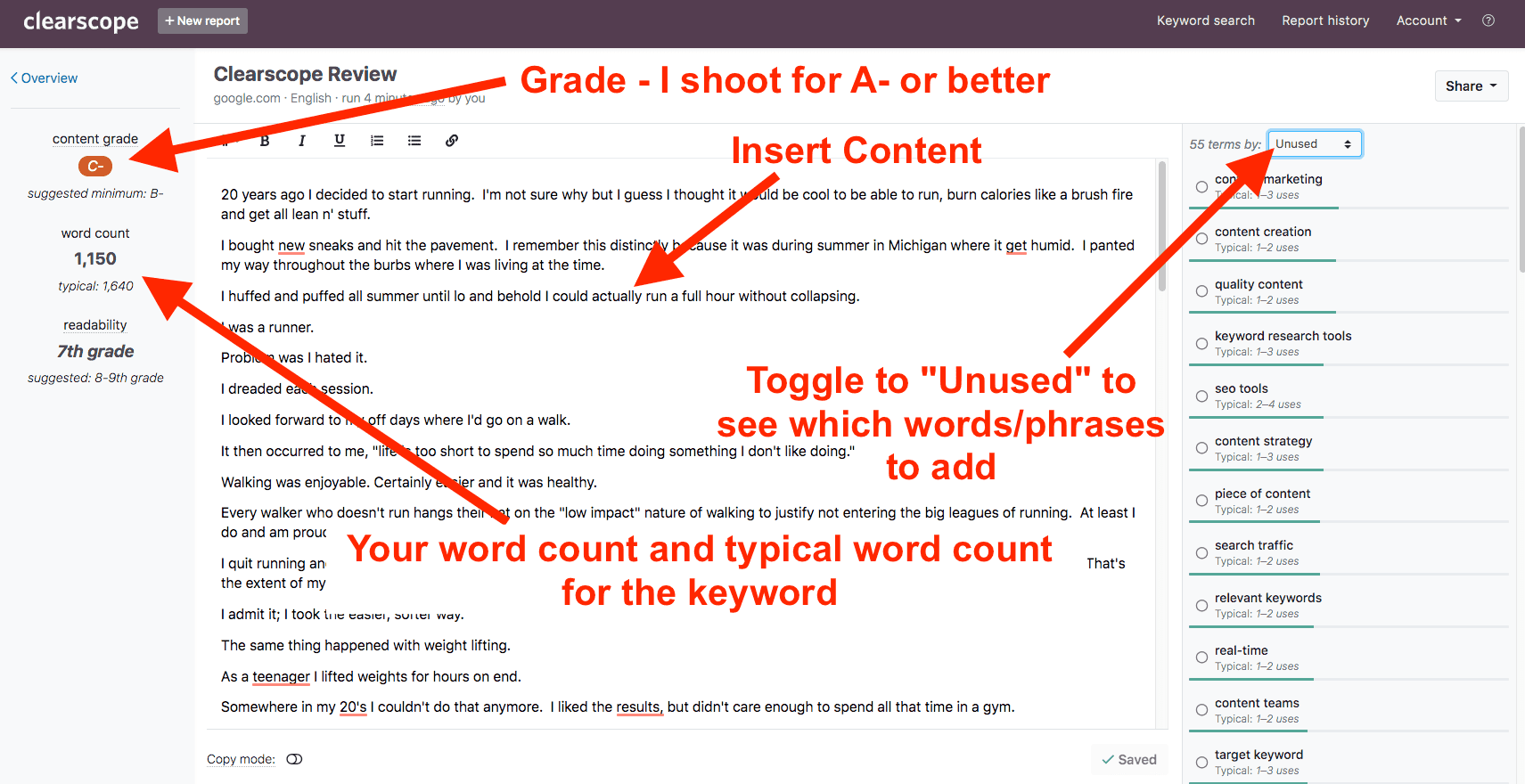 3.Insert article into the visual editor and check content grade and missing terms.-min
