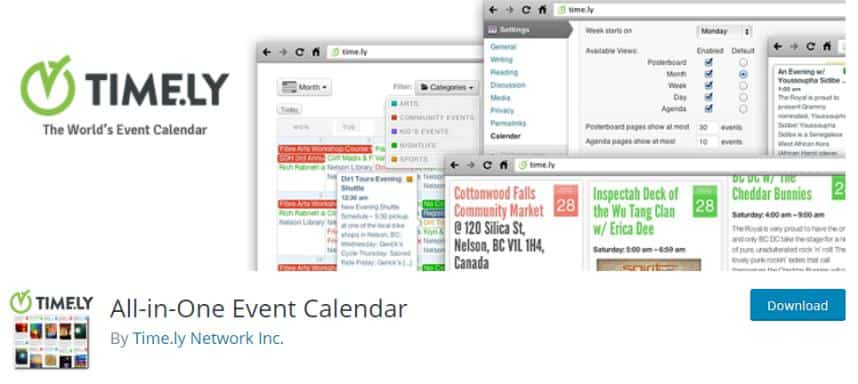All-in-One Event Calendar Plugin for event display