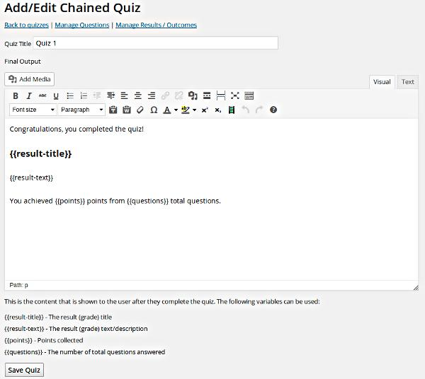 Chained Quiz plugin for WordPress surveys
