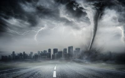City undergoing natural disaster