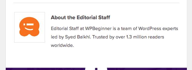 Corporate blog author bio example wpbeginner