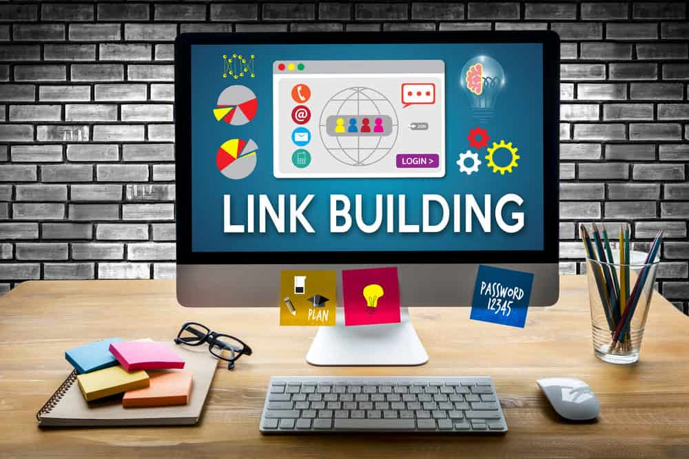 Link building on computer screen