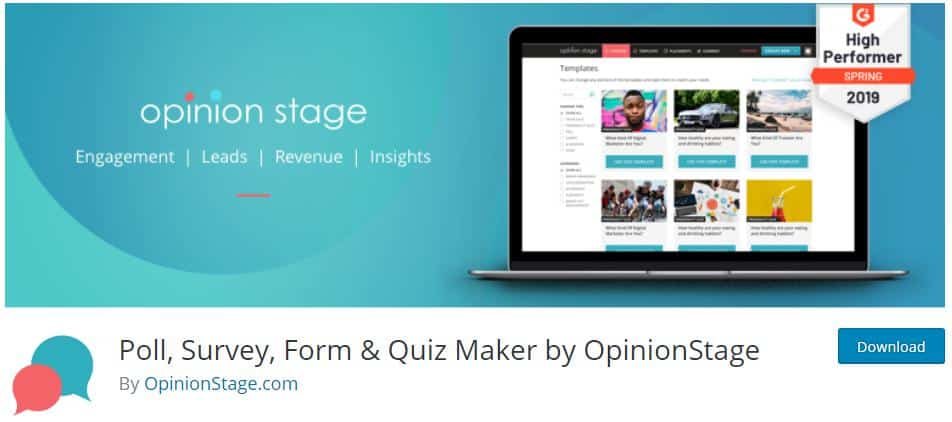 Poll, Survey, Quiz & Form by OpinionStage for WordPress Quizzes