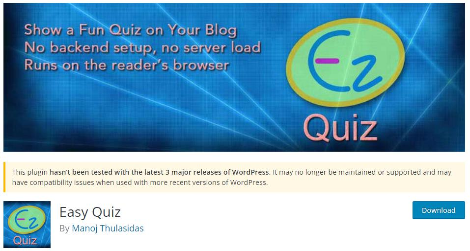 WordPress Quiz creator called Easy Quiz