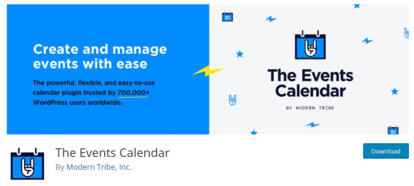 The Events Calendar Plugin for event display