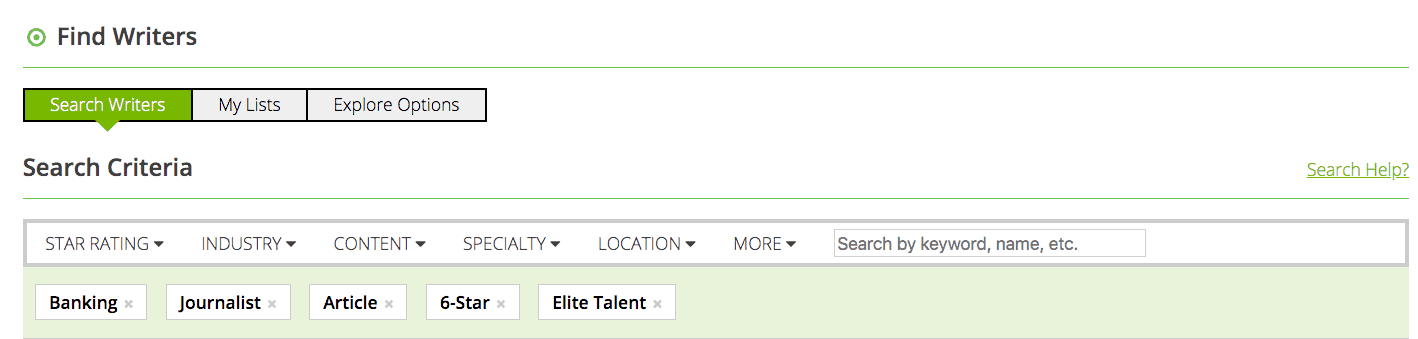 WriterAccess writer search filter
