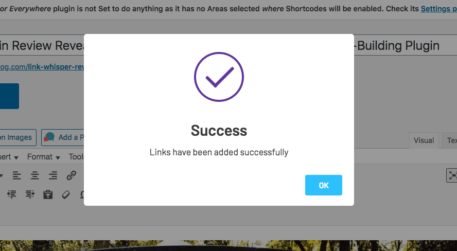 Success screen for adding new internal links