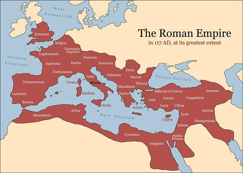 Roman map circa 117 AD