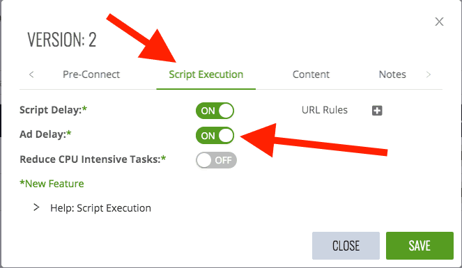 Ad Delay toggle in Ezoic Site Speed Accelerator