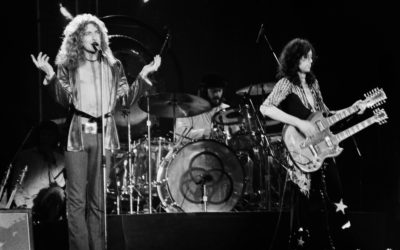 February 13, 1975: Robert Plant and Jimmy Page of legendary rock band Led Zeppelin perform at Nassau Coliseum on their 1975 North American tour.