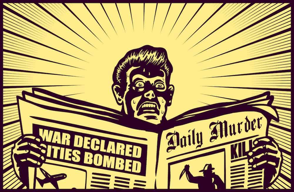 Man reading clickbait newspaper