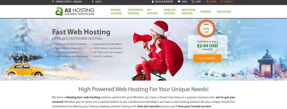 A2 Hosting website homepage
