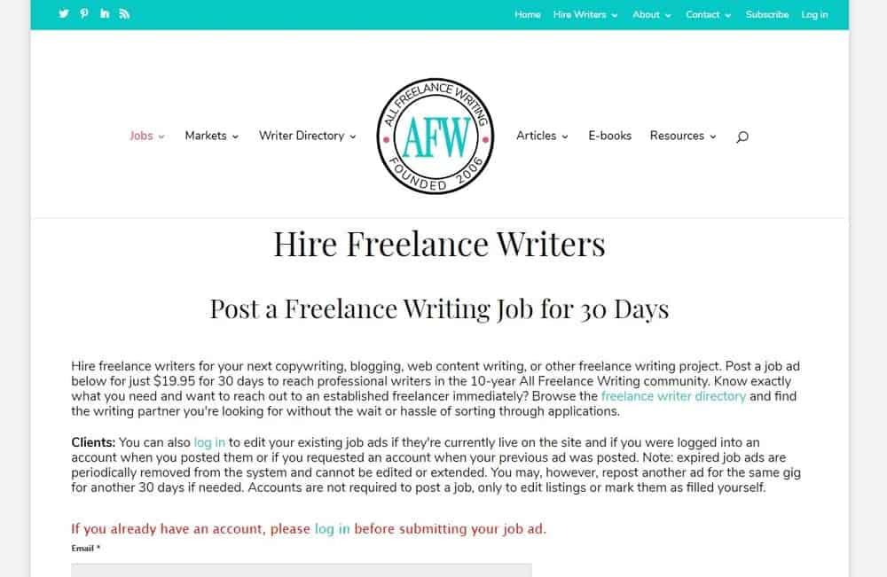 All Freelance Writers website homepage