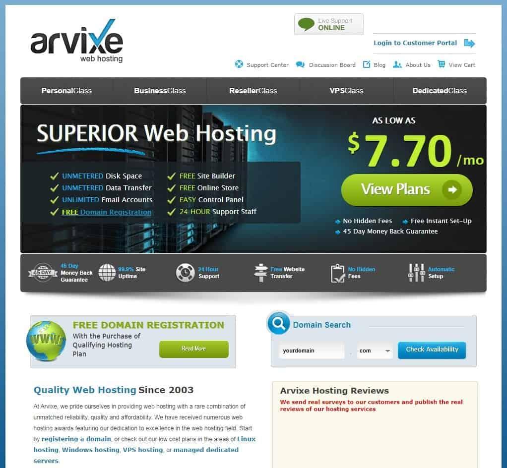 Arvixe website homepage