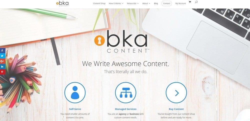 BKA Content website homepage