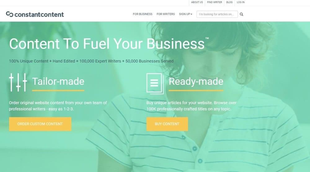Constant Content website homepage