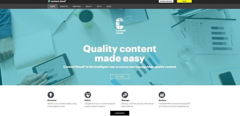 Content Cloud website homepage