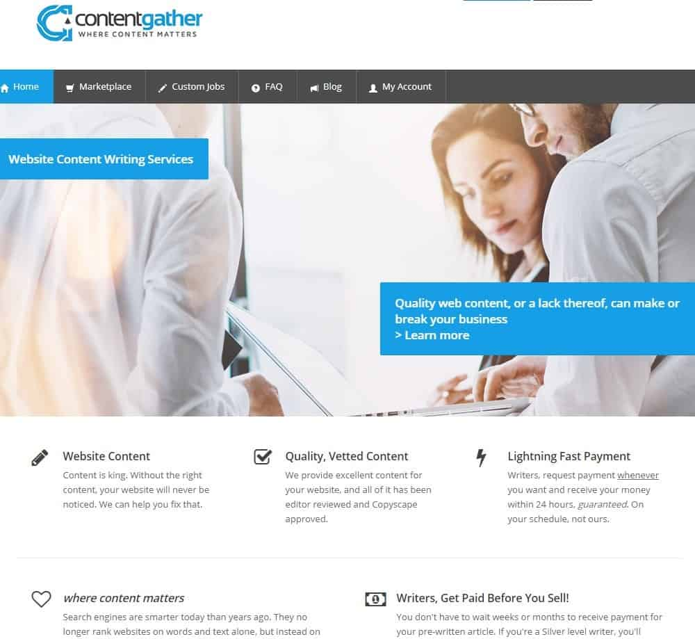 Content Gather website homepage