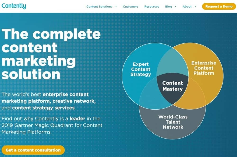 Contently website homepage