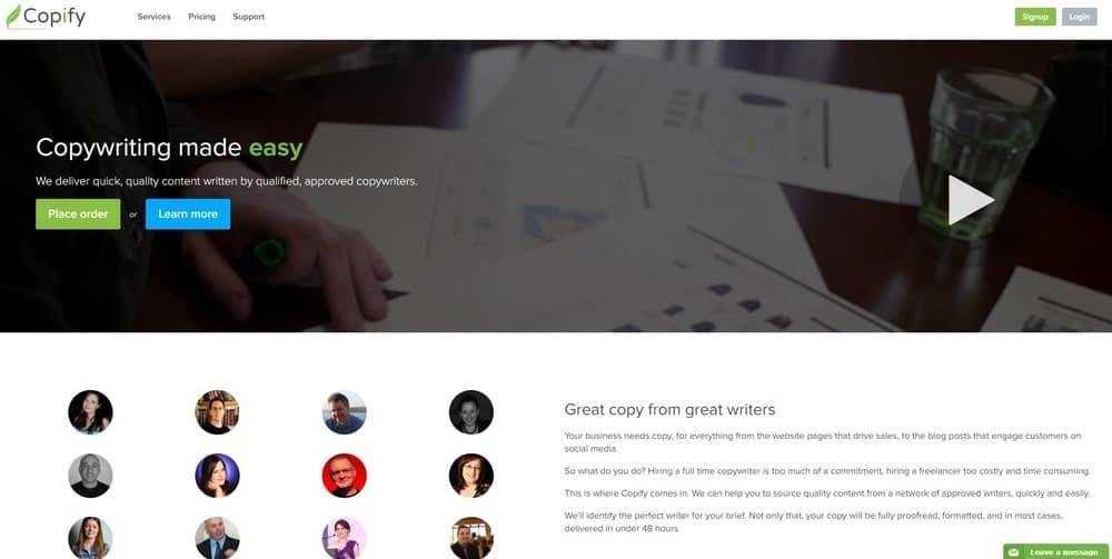 Copify website homepage