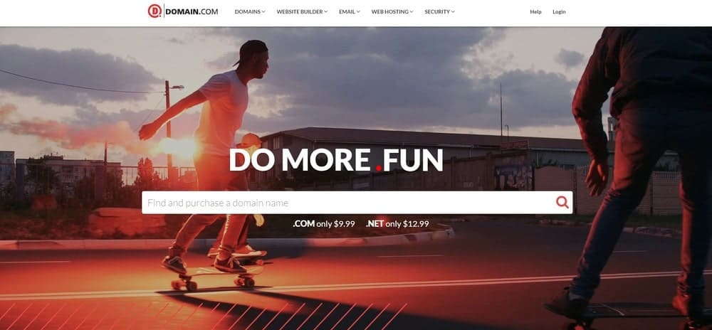 Domain.com website homepage