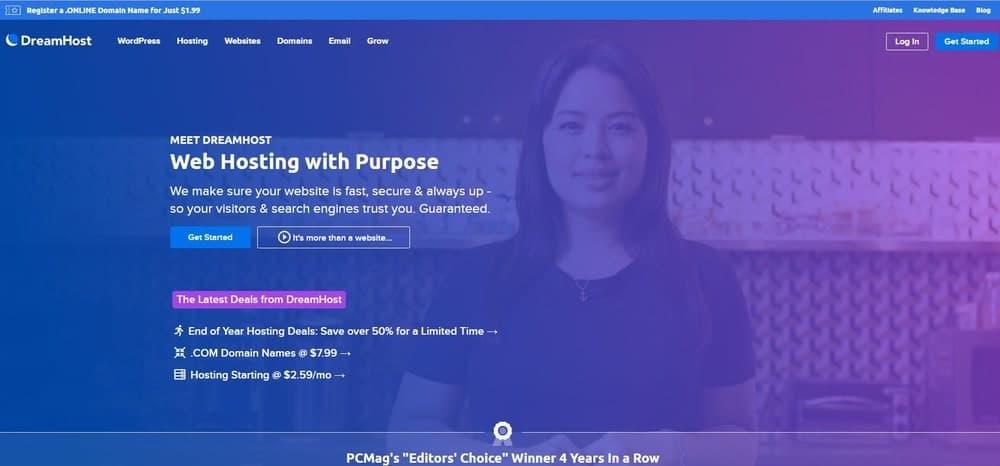 DreamHost website homepage