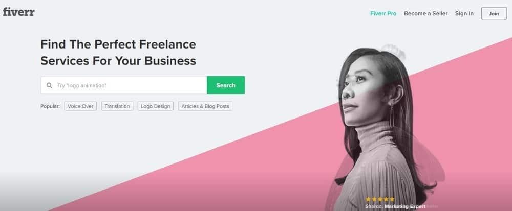 Fiverr website homepage