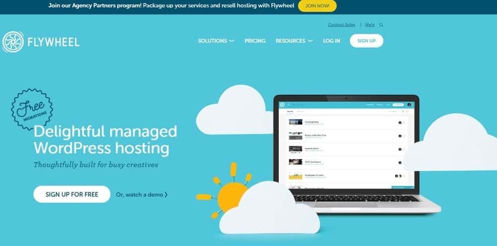 Flywheel website homepage