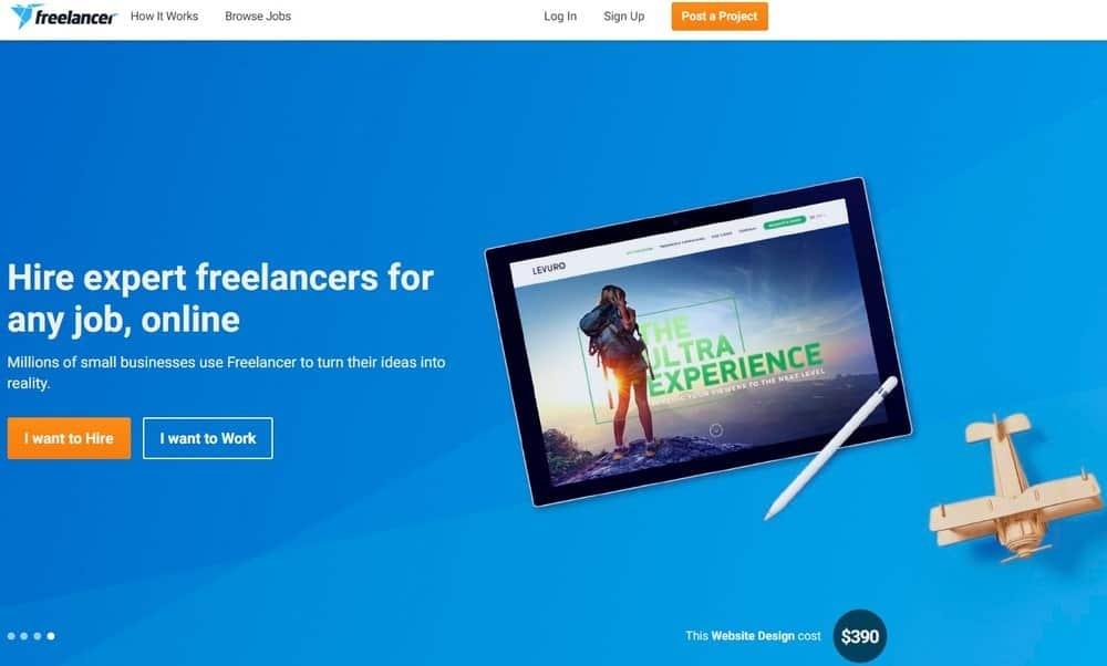 Freelancer website homepage