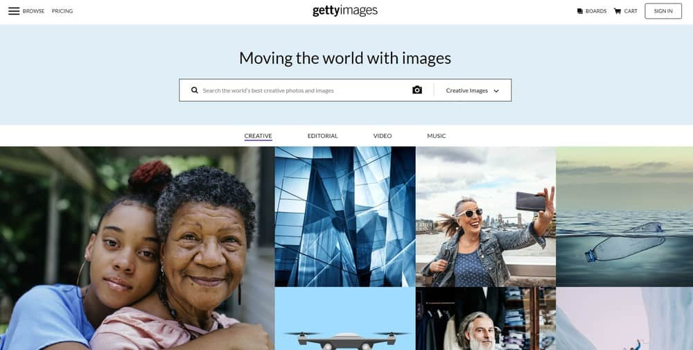 Getty Images homepage