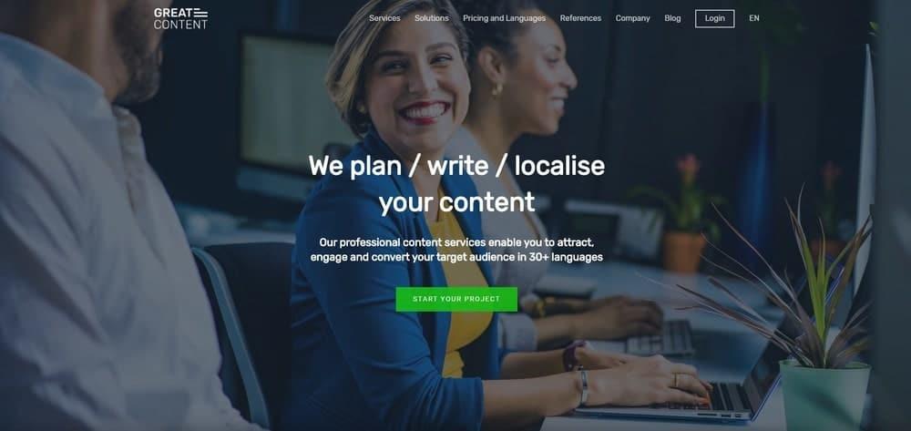 Great Content website homepage