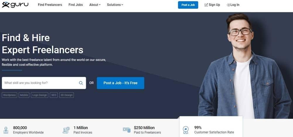Guru website homepage