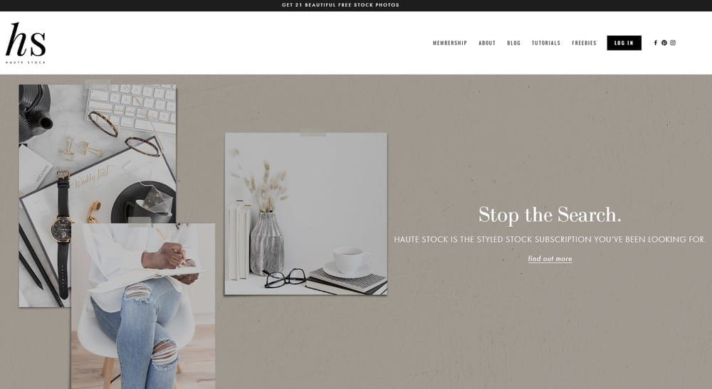 Haute Stock homepage