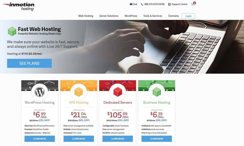 InMotion Hosting website homepage