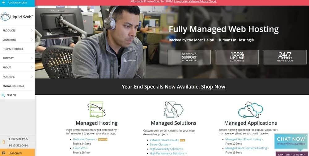 Liquid Web website homepage
