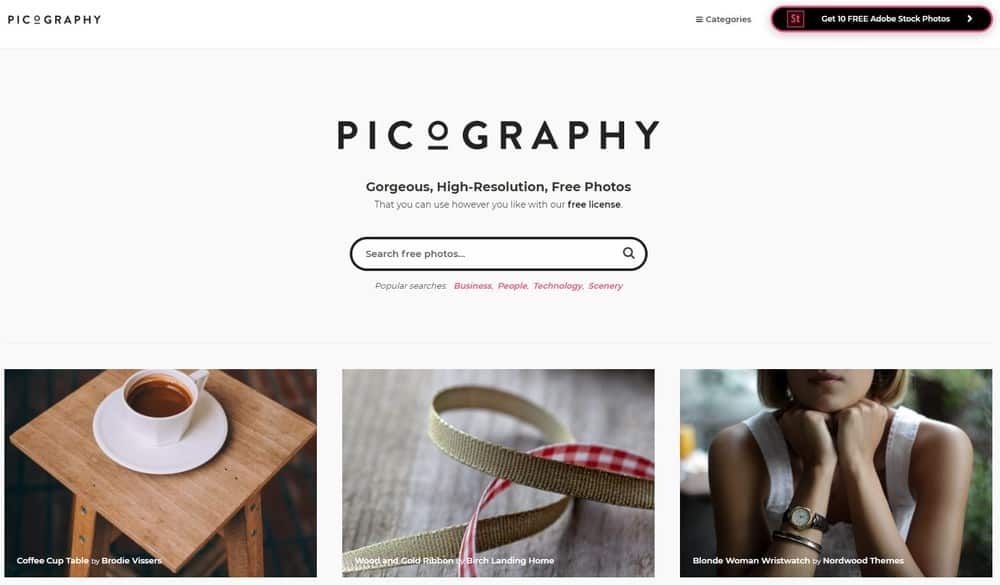 Picography homepage